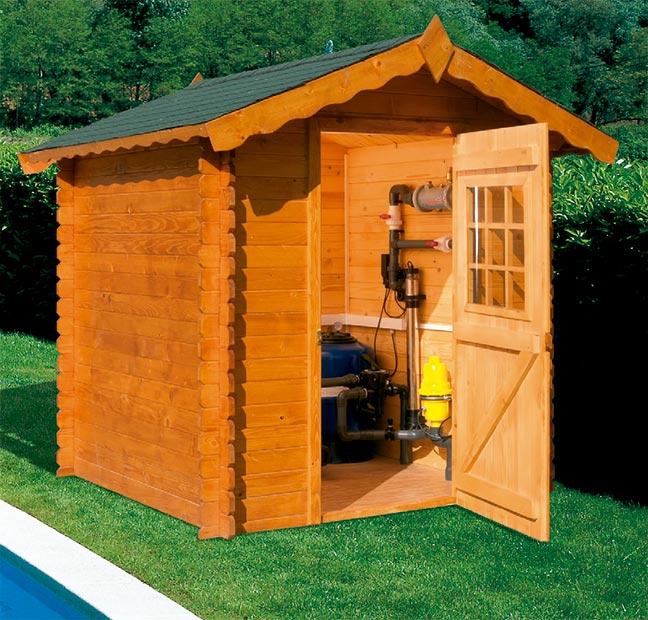 Caseta de fusta per la filtració de la piscina