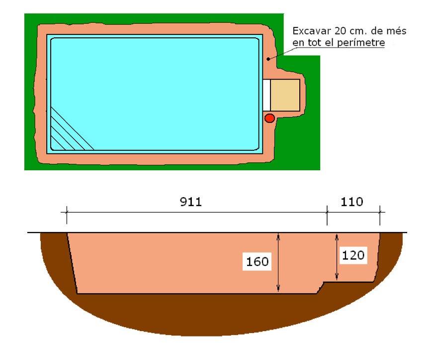 Excavació filtració integral piscina Graf Canaria