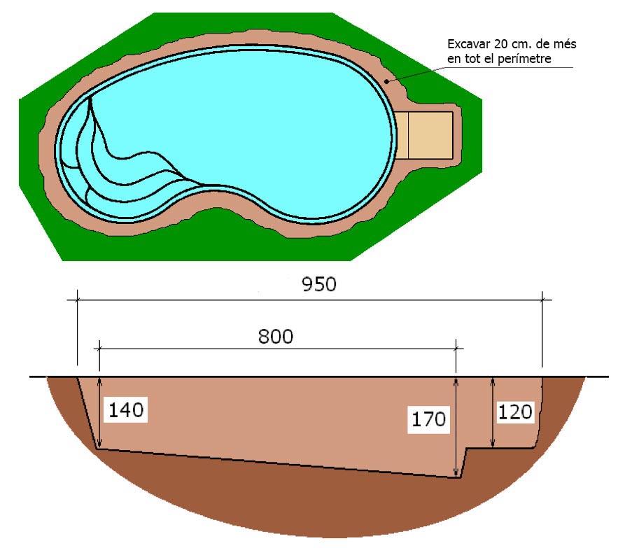 Excavació integral piscina poliester ronyó Graf 75