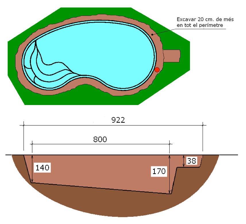 Excavació tècnic graf piscina poliester ronyó Graf 75