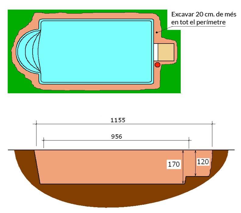 Piscina de polièster Romana Graf 104 excavació integral