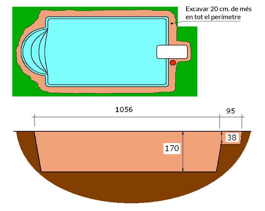 Piscina de polièster Romana Graf 104 excavació tècnic graf