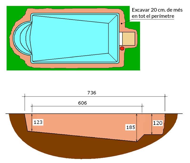 Piscina de polièster Romana Graf 64 excavació integral