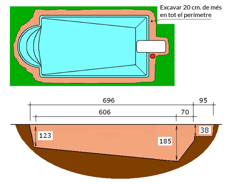 Piscina de polièster Romana Graf 64 excavació tècnic graff