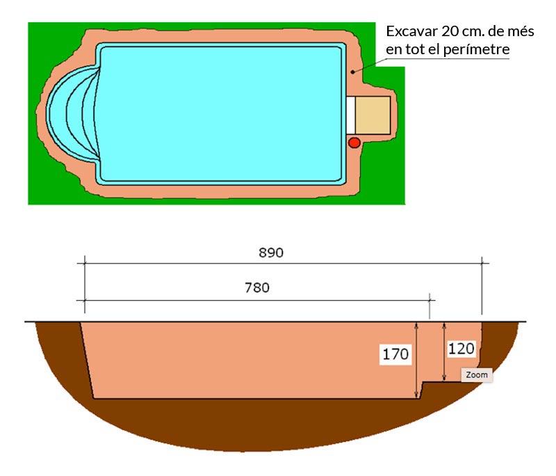 Piscina de polièster Romana Graf 70 excavació integral