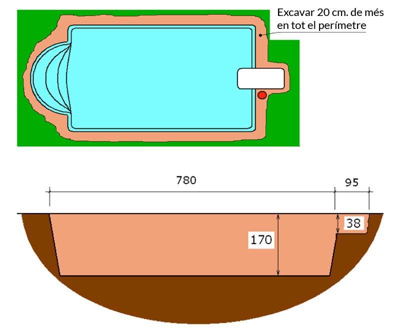 Piscina de polièster Romana Graf 70 excavació tècnic graf