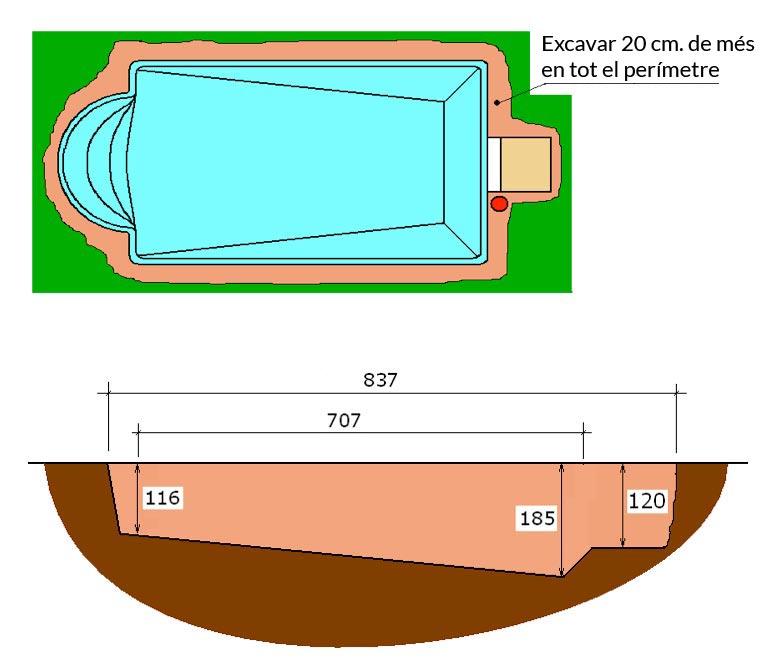 Piscina de polièster Romana Graf 74 excavació integral