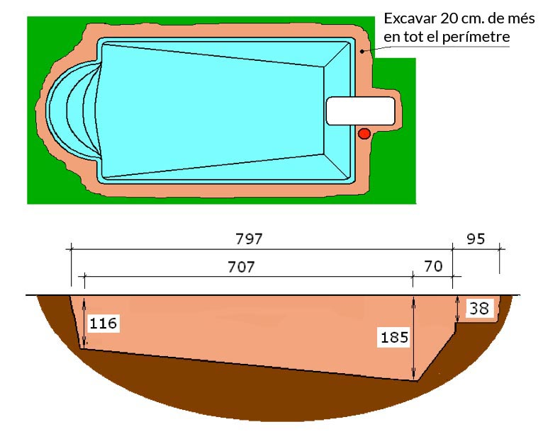 Piscina de polièster Romana Graf 74 excavació tècnic graf