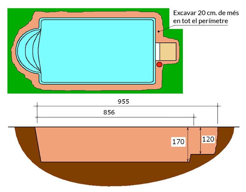 Piscina de polièster Romana Graf 78 excavació integral