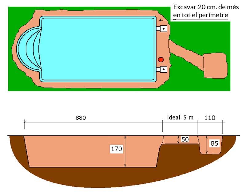 Piscina de polièster Romana Graf 78 excavació local tècnic