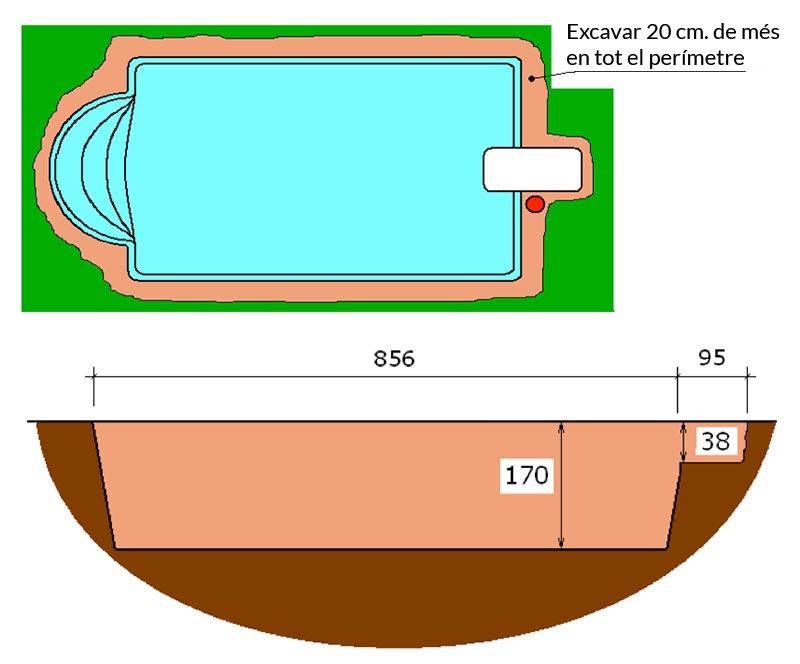 Piscina de polièster Romana Graf 78 excavació tècnic graf