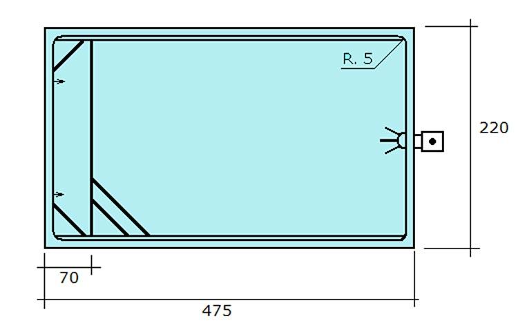 Piscina de polièster rectangular Graf Xelida