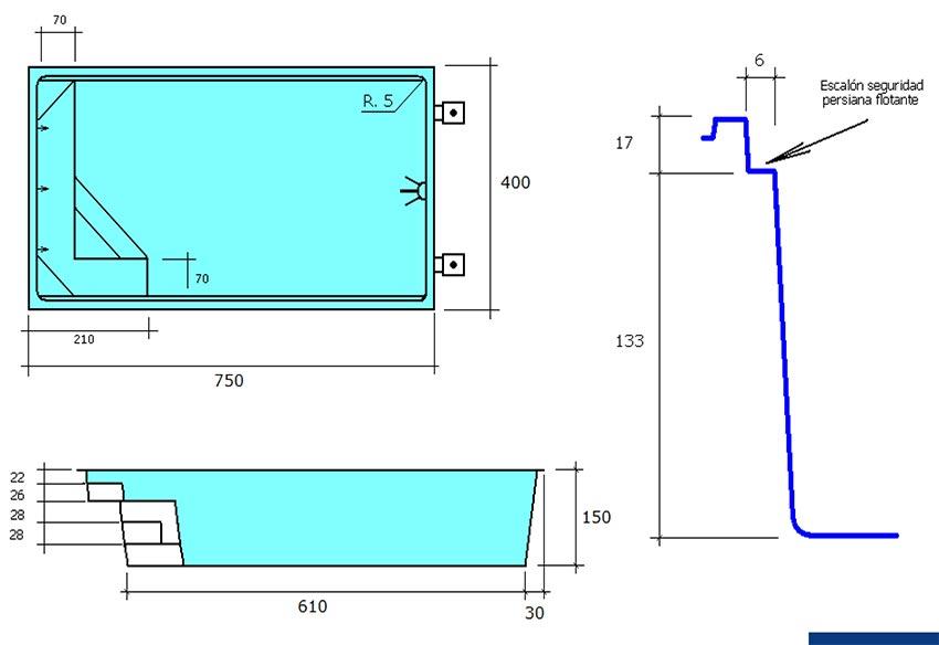 Piscina rectangular de polièster Montjoi fitxa tècnica